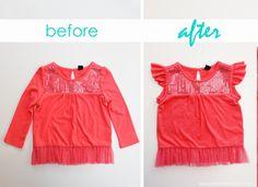 Re-purpose a long sleeve shirt into a flutter sleeve shirt. www.makeit-loveit.com #clothing #refashion