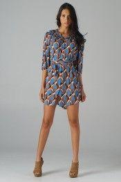 Smocked Neckline Shirt Dress (Blue) - Front