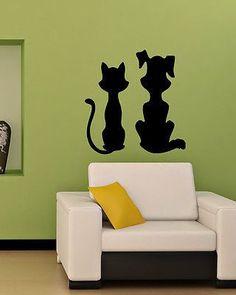KITTEN AND PUPPY CAT DOG FUNNY ANIMAL WALL VINYL STICKER DECALS ART MURAL D154
