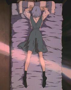 Rei Ayanami, Laying on Bed, Gainax, Neon Genesis Evangelion Rei Ayanami, Neon Genesis Evangelion, Clamp Manga, Bakugou Manga, Evangelion Tattoo, Evangelion Kaworu, Girls Anime, Me Anime, Anime Art