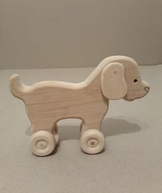 Toy wooden dog on wheels Toy for baby Ecological gift for a Homemade Dog Toys, Diy Dog Toys, Baby Toys, Toy Diy, Toddler Toys, Handmade Wooden Toys, Wooden Diy, Dog Toys For Boredom, Dog Toy Basket