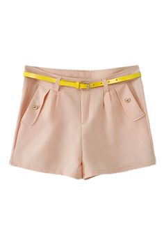 $24 ROMWE | OWEM Belted Pocketed Sheer Yellow Pink Shorts, The Latest Street Fashion
