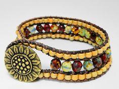 Leather cuff bracelet  - chan luu leather wrap - bohemian leather bracelet - 3 row leather wrap - Sunflower. $49.95, via Etsy.