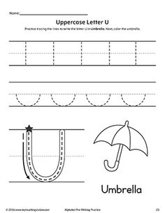 **FREE** Uppercase Letter U Pre-Writing Practice Worksheet Worksheet.Practice handwriting skills while learning the shape of the letter -U- with this alphabet pre-writing worksheet.