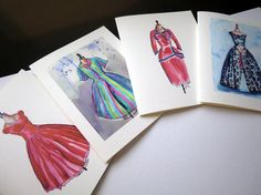 Retro Fashion Notecards Vintage Dress Watercolor Art by jojolarue