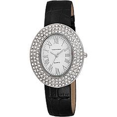 (Vernier Women's Silver Oval Sparkle Crystal Black Strap Watch)  the related yin yang personality/color/style systems have similar jewelry recommendations. several authors recommend for #winter/ #type4 = oval, polished silver, large size, contrast, stillness, faceted stones with sparkle.