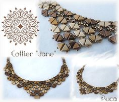 "Posted on Facebook by  Puca Annick. Collier "" Jane"" Revisité par Oli avec les Khéops®par Puca®. Would love to find the pattern!"