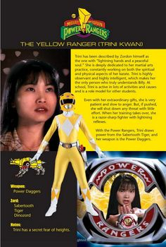 The Yellow Ranger (Trini Kwan) - I'm kind, smart and I like to help others when I can. I also used to be into helping the environment. Although, I don't really do much of that anymore. Besides, whenever I ask my friends what power ranger I'd be most like, I always hear them say Trini.