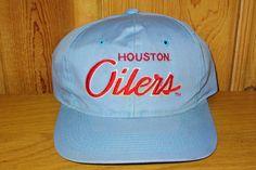 e85dfebf627 Houston OILERS Vintage 90s Official NFL Snapback by HatsForward Houston  Oilers