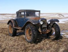 1928 Ford Model A as a Montana rural route mail car. Converted in 1941 with 11.2x24 wheels and Goodyear tractor tires.