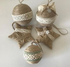 Items similar to Set of 5 twine ornaments for rustic Christmas decor Country home Christmas decoration Housewarming gift Star ornament Farmhouse xmas decor on Etsy Homemade Christmas Tree, Noel Christmas, Rustic Christmas, Handmade Christmas Decorations, Diy Christmas Ornaments, Christmas Tree Decorations, Twine Crafts, Spool Crafts, Star Ornament