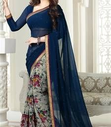 Buy navy blue printed georgette saree with blouse georgette-saree online