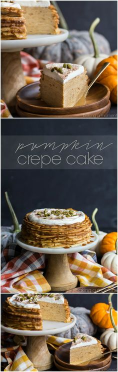 Pumpkin Crepe Cake: layer upon layer of lacy crepes, filled with a fluffy, cinnamon-spiced pumpkin pastry cream. The salted caramel and pepita garnish took this completely over-the-top! Definitely making this again for Thanksgiving.  food desserts pumpkin