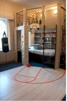 Basketball loft bed. Cute for a boy/girl who loves basketball.
