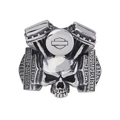 Harley-Davidson Skull Silver Ring by Thierry Martino, designed and crafted by bikers for bikers. #HDbyTM #TMsilverjewelry #TMsilverring #TMsilverskulls http://www.soulfetish.com/en/jewelry/harley-davidson/ring/h-d-ring
