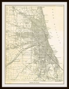 Antique Map CHICAGO, ILLINOIS - 1940 Map Page