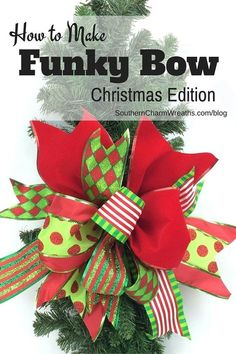 """Gardening Diy Use Scraps of Ribbon to Create A Funky Bow - Use Scraps of Ribbon to Create a Funky Bow - This bow is easy peasy! I know you can make this bow! I developed the """"funky bow"""" technique a few years ago when t. Christmas Bows, Christmas Projects, All Things Christmas, Holiday Crafts, Christmas Time, Christmas Decorations, Christmas Ornaments, Xmas, How To Tie A Christmas Bow"""
