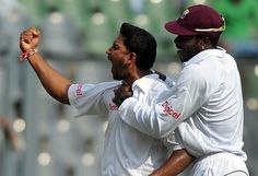 Ravi Rampaul exults after getting Sachin Tendulkar's wicket, India v West Indies, 3rd Test, Mumbai, 4th day, November 25, 2011 200th.in