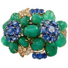 DAVID WEBB Carved Emerald Sapphire Diamond Bracelet