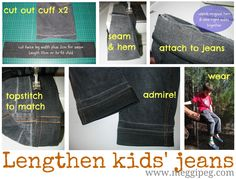 meggipeg: Quick fixes: How to lengthen jeans for kids