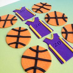 Basketball handmade edible fondant cupcake toppers made by FancyTopcupcake