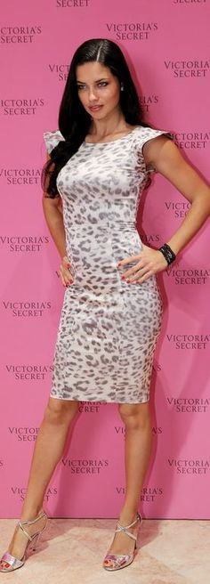 Who made Adriana Lima's leopard print dress and silver sandals that she wore in Dubai? Dress – Alexis; Shoes -Jerome C. Rousseau
