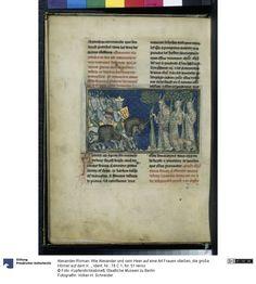 Wie Alexander und sein Heer auf eine Art Frauen stießen, die große Hörner auf dem Kopf und Bärte bis zur Brust trugen und Hunde mit sich führten, die ihre Beute schlugen und das, wovon sie lebten, Alexander-Roman, f51v, 1300/25, Flandern, Kupferstichkabinett der Staatlichen Museen zu Berlin