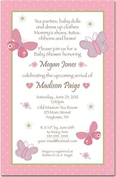 Baby Shower: Baby Shower Girl Invitation Wording To Help You Choose The Idea Of…