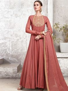 Salmon Maslin Cotton Partywear Gown Cotton Anarkali, Anarkali Dress, Anarkali Suits, Silk Dupatta, Sharara Suit, Gown Dress Online, Gowns Online, Designer Anarkali, Designer Gowns