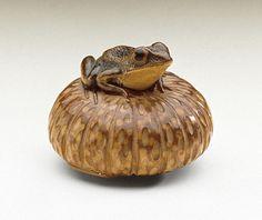 Nobumasa (Japan)   Frog on Pumpkin, mid-19th century  Netsuke, Wood with staining, inlays