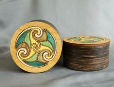 SALE Celtic Triskele Inlay Hardwood Box  by MinusTideJewelry