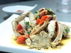Whole Roasted Dungeness Crab, Mint, Parsley and Oven-Roasted Tomatoes from CookingChannelTV.com