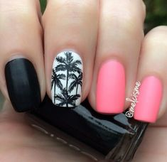 Pink and Black Nails with Palm Trees via