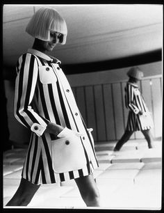 1960s. Andre Courreges. Space Age Collection. Geometric lines. Thigh length.