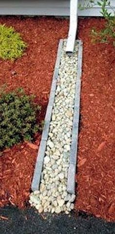 Carry rain water away from foundation and plantings...install a cement trough filled with rocks                                                                                                                                                     More