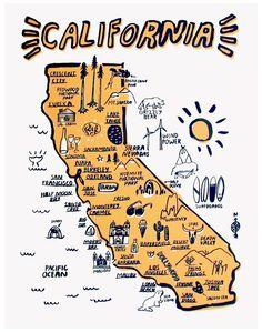 Home California Art - B E S T C O A S T Print by available at by californiamade Travel Maps, Travel Posters, Map Posters, Prague Travel, California Dreamin', Santa Cruz California, Map Design, Graphic Design, Map Art