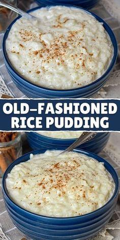 Best Rice Pudding Recipe, Homemade Rice Pudding, Easy Pudding Recipes, Creamy Rice Pudding, Pudding Desserts, Dessert Recipes, Rice Pudding Baked, Crockpot Rice Pudding, Rice Puddings