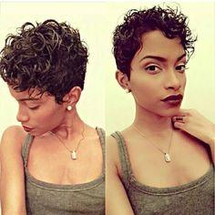 Cute curly pixie cut