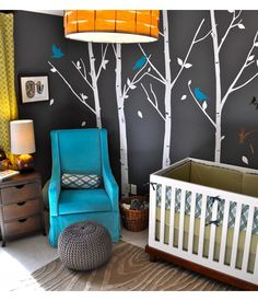 Love the trees - maybe for an office - love the wall color too.