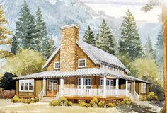 farmhouse with tin roof house plans   Architectural Designs Rustic ...