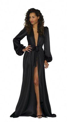 d44ed4a59c Simone silk robe- black silk satin floor-length robes
