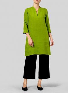 PLUS Clothing - Linen V-neck Mandarin Collar Tunic