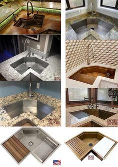 100 Corner Kitchen Sinks Ideas In 2021 Corner Sink Kitchen Corner Sink Custom Sinks