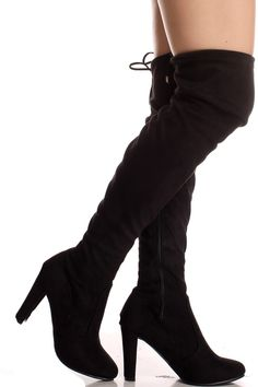 Black suede material back lace side zipper over the knee chunky high heel boots #overthekneeboots #blackboots