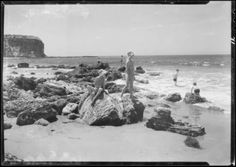 1935 kids playing on beach at Abalone Cove Palos Verdes.