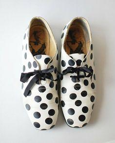 vintage polka dot BW oxford shoes.