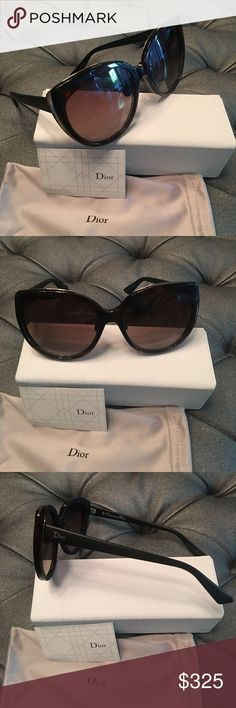 Christian Dior diorific oversized sunglasses Dior Diorific 1N Brown Sunglasses with Gold Cat Eye & Black Legs. Brand new with case, cleaning cloth, pouch, and authenticity card A modern cat-eye profile accentuates the allure of a pair of fiercely feminine Dior sunglasses, while a gilded inset provides a flash of unexpected glamour. 57mm lens width; 18mm bridge width; 145mm temple length. Silicone nose pads. 100% UV protection. Optyl(TM) plastic. By Dior; made in Italy. Christian Dior…