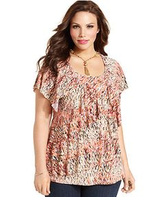 Elementz Plus Size Top, Short-Sleeve Printed Ruffle - Plus Size Tops - Plus Sizes - Macy's