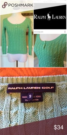 """Ralph Lauren  Cable Knit Sweater Excellent Condition!!!  Medium weight cable knit sweater with 3/4"""" sleeves. Beautiful color of Mint Green.  This is from the Ralph Lauren Golf Collection. Ralph Lauren Sweaters Crew & Scoop Necks"""