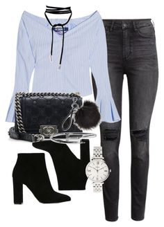 """Untitled #1302"" by ruhika29 ❤ liked on Polyvore featuring H&M, Jacquemus, Gianvito Rossi, Chanel and FOSSIL"